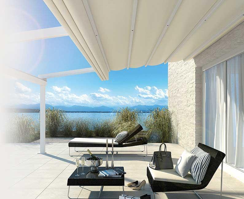Moderne terrasoverkapping van Weinor